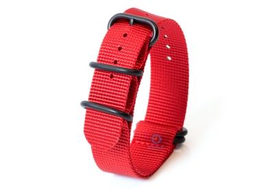 Horlogeband nylon 22mm rood