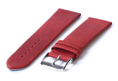 Horlogeband 24mm wijnrood leer