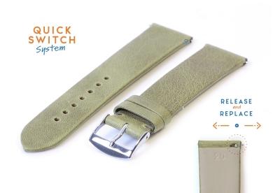 Horlogeband 20mm kaki groen leer