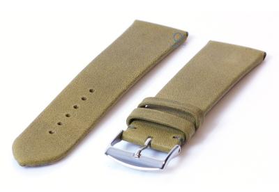 Horlogeband 22mm kaki groen leer