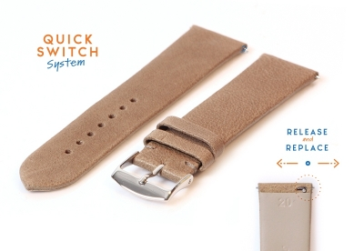 Horlogeband 20mm bruin kalfsleer