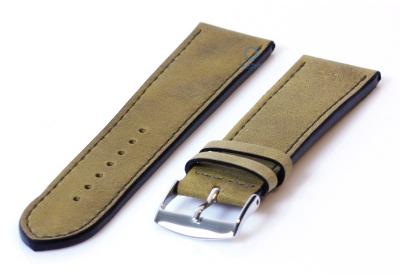 Horlogeband 24mm kakigroen leer