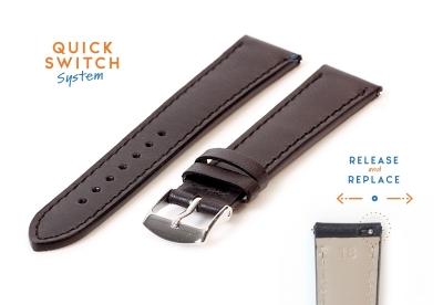 Horlogeband 18mm zwart leer