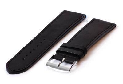 Horlogeband 24mm zwart leer