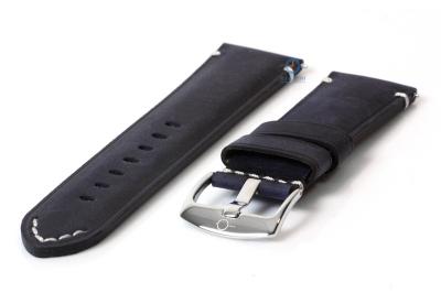 Vintage horlogeband 24mm marineblauw