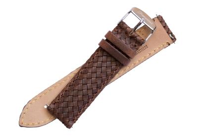 Fromanteel horlogeband gevlochten leer bruin