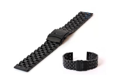 Horlogeband 24mm zwart mat/glans
