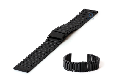 Horlogeband 24mm zwart staal mat