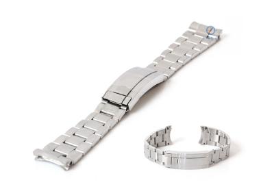Rolex style horlogeband 21mm staal zilver