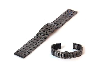 Horlogeband 24mm staal gunmetal mat/glans