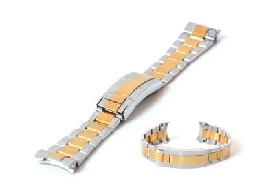 Rolex style horlogeband 21mm staal zilver/ goud