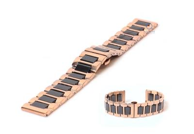 Horlogeband 22mm staal rosegoud/zwart