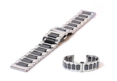 Horlogeband 22mm staal mat zilver/zwart