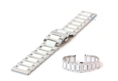 Horlogeband 22mm staal mat/glans zilver/wit