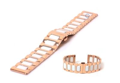 Horlogeband 22mm staal rosegoud/wit glans
