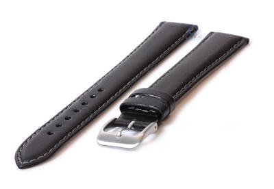 Extra lange horlogeband 20mm zwart leer - XXL