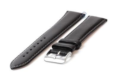 Extra lange horlogeband 24mm zwart leer - XXL