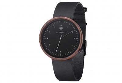 Kerbholz horlogeband Heinrich Black But Colourful Walnut