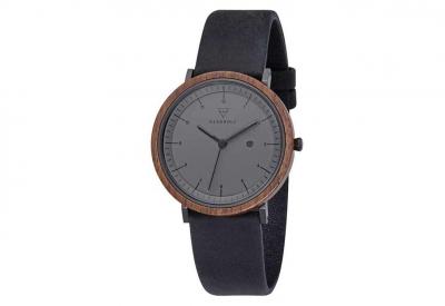 Kerbholz horlogeband Amelie Walnut Midnight Black