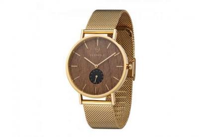 Kerbholz horlogeband Fritz Walnut Gold Mesh