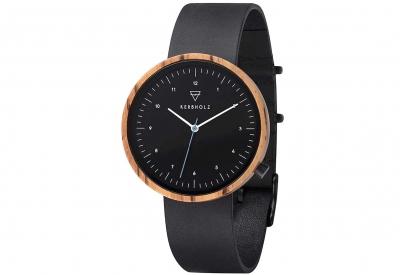 Kerbholz horlogeband Heinrich Black But Colourful Zebranowood