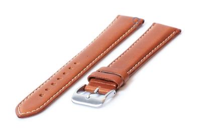 Extra lange horlogeband 20mm lichtbruin leer - XXL
