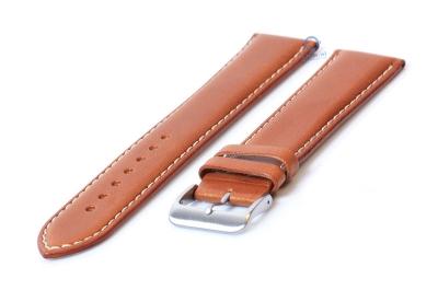 Extra lange horlogeband 22mm lichtbruin leer - XXL