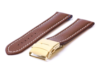 Gisoni Horlogeband 24mm bruin kalfsleer