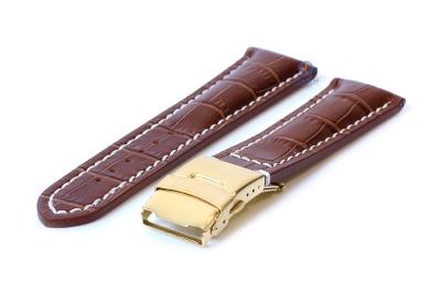 Gisoni Horlogeband 24mm bruin croco
