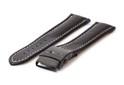 Gisoni Horlogeband 22mm zwart kalfsleer