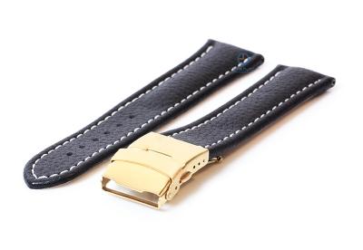 Gisoni Horlogeband 24mm zwart kalfsleer