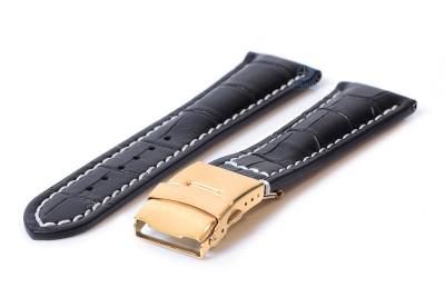 Gisoni Horlogeband 22mm zwart croco