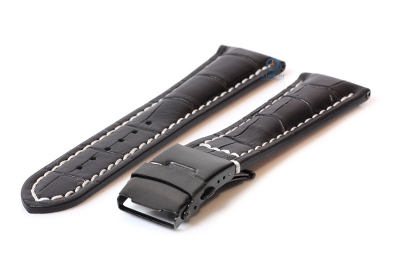 Gisoni Horlogeband 24mm zwart croco