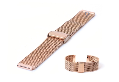 Horlogeband 18mm milanees rose goud (grof)