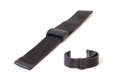 Horlogeband 22mm milanees zwart (grof)