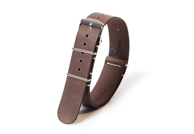 Horlogeband 20mm nato kalfsleer nut