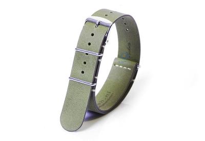 Horlogeband 18mm nato kalfsleer kaki groen