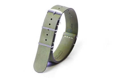 Horlogeband 20mm nato kalfsleer kaki groen