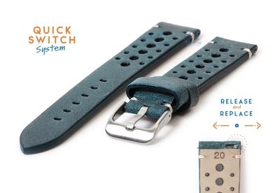 Horlogeband 20mm vintage perforated groen leer