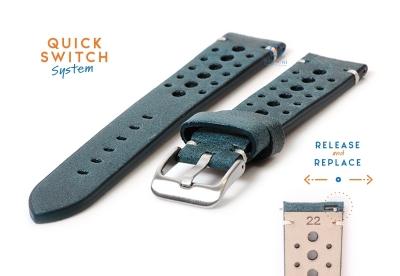 Horlogeband 22mm vintage perforated groen leer