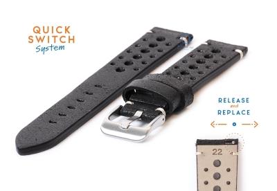 Horlogeband 22mm vintage perforated zwart leer