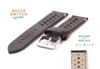 Horlogeband 24mm vintage perforated zwart leer