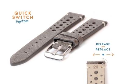 Horlogeband 20mm vintage perforated grijs leer