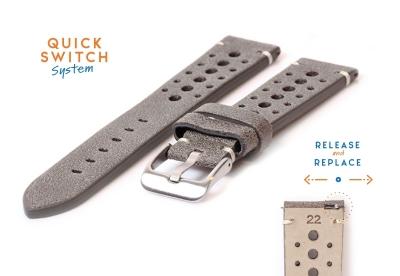 Horlogeband 22mm vintage perforated grijs leer