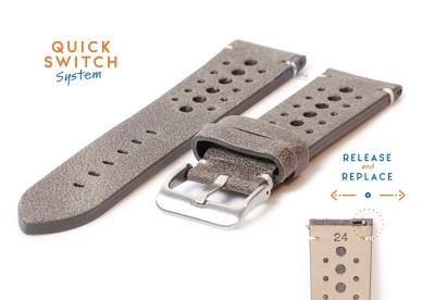 Horlogeband 24mm vintage perforated grijs leer