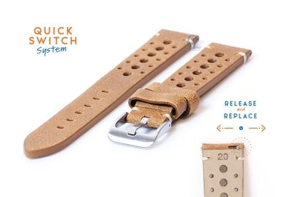 Horlogeband 20mm vintage perforated bruin leer