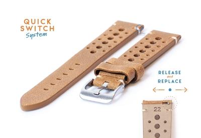 Horlogeband 22mm vintage perforated bruin leer