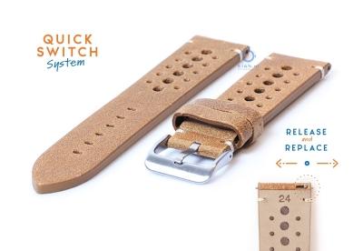 Horlogeband 24mm vintage perforated bruin leer