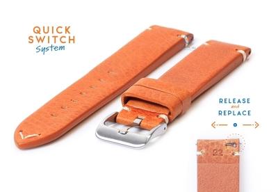 Horlogeband 22mm vintage bruin leer