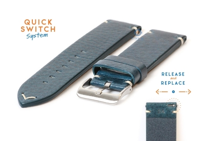 Horlogeband 24mm vintage blauw leer